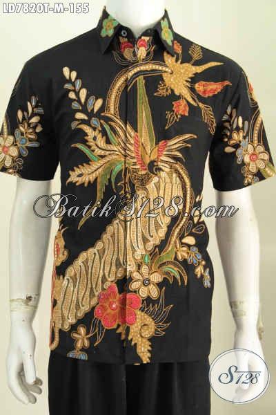 Baju Batik Lengan Pendek Dasar Hitam Elegan, Pakaian Batik Modis Proses Tulis Hanya 155K [LD7820T-M]