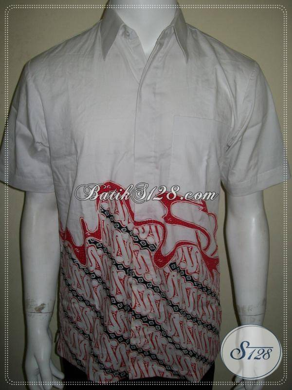 Batik Tulis Putih, Kemeja Cowok Elegan dan Eksklusif Lengan Pendek [LD787T-M]