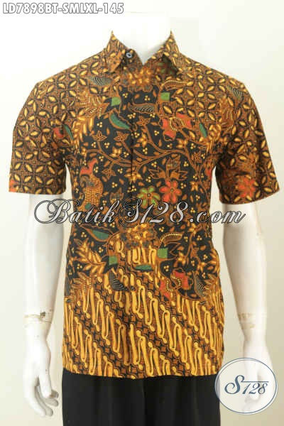 Aneka Busana Batik Pria Dengan Motif Terkini, Baju Batik Elegan Buatan Solo Model Lengan Pendek Untuk Penampilan Lebih Istimewa [LD7898BT-S]
