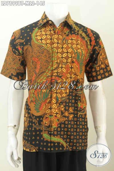 Pusat Batik Online Jual Baju Batik Lengan Pendek Pria Motif Terkini Berbahan Halus Proses Kombinasi Tulis Buat Tampil Keren Dan Gaya [LD7899BT-L]