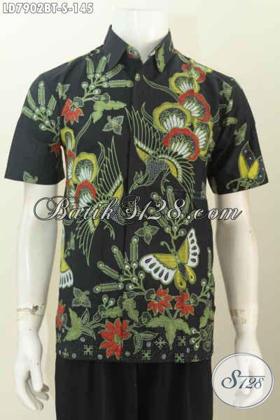 Baju Batik Buatan Solo, Hem Batik Modis Motif Unik Proses Kombinasi Tulis, Cocok Buat Gaul [LD7902BT-S]