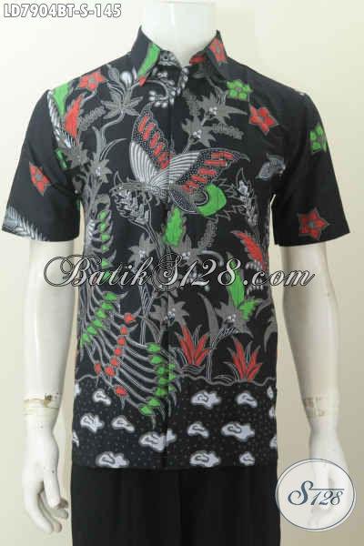 Pusat Batik Solo Online, Sedia Baju Batik Modis Dasar Hitam Motif Trendy Untuk Penampilan Pria Lebih Dinamis [LD7904BT-S]