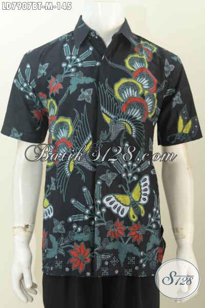 Batik Keren Untuk Pria, Kemeja Batik Modis Lengan Pendek Size M Proses Kombinasi Tulis Hanya 145K [LD7907BT-M]
