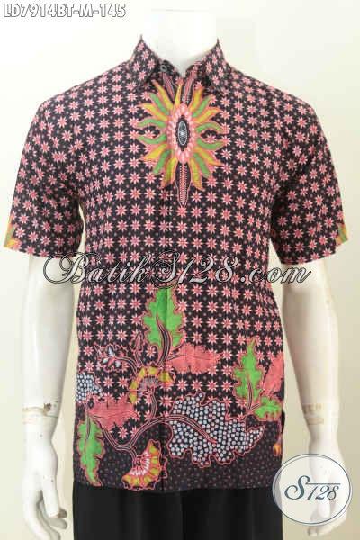 Hem Batik Halus Harga 145K, Baju Batik Pria Lengan Pendek Keren Dan Elegan Proses Kombinasi Tulis Asli Solo [LD7914BT-M]