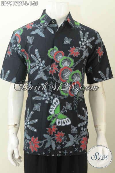 Busana Batik Halus Dan Modis, Baju Batik Gaul Dasar Hitam Elegan Proses Kombinasi Tulis, Cocok Untuk Santai [LD7917BT-L]