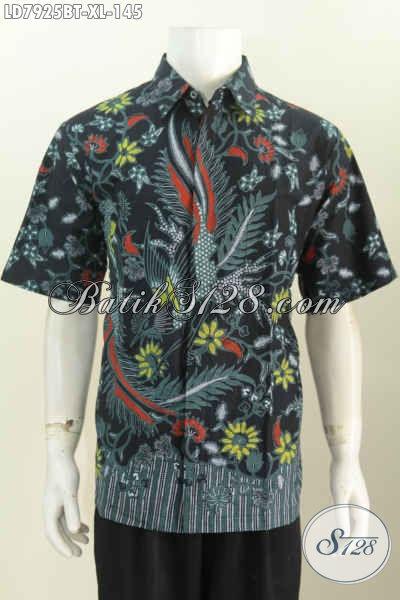 Baju Batik Cowok Elegan Lengan Pendek Motif Unik Dan Keren Kombinasi Tulis, Pas Banget Untuk Seragam Kerja Kantoran, Size XL