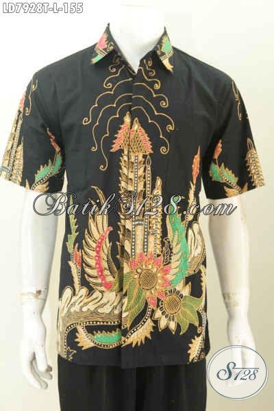 Pakaian Batik Solo Untuk Pria Muda, Hem Batik Modis Motif Trendy Proses Tulis Model Lengan Pendek Cocok Buat Gaul [LD7928T-L]