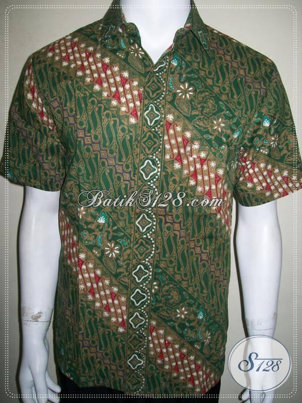 Busana Batik Cowok Hijau Motif Parang Modern Ukuran M Keren [LD792CT-M]