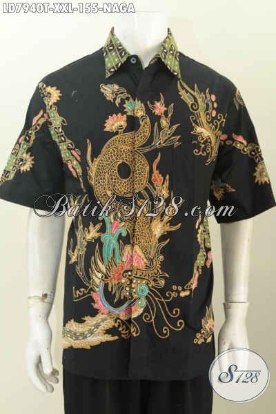 Hem Batik Solo Lengan Pendek Motif Naga, Pakaian Batik Untuk Santai Dan Jalan-Jalan Proses Tulis Harga 155 Ribu Spesial Untuk Pria Gemuk  [LD7940T-XXL]
