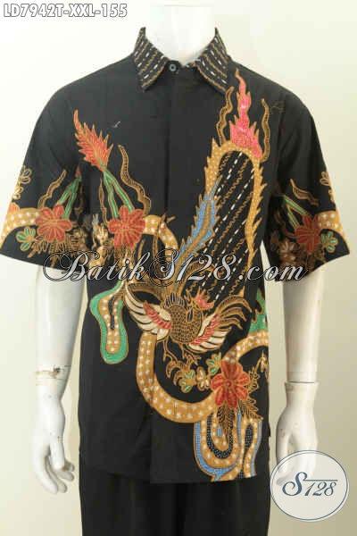 Produk Busana Batik Excslusive Buat Lelaki Gemuk, Pakaian Batik Berkelas Bahan Adem Proses Tulis Model Lengan Pendek Trend Mode Masa Kini [LD7942T-XXL]
