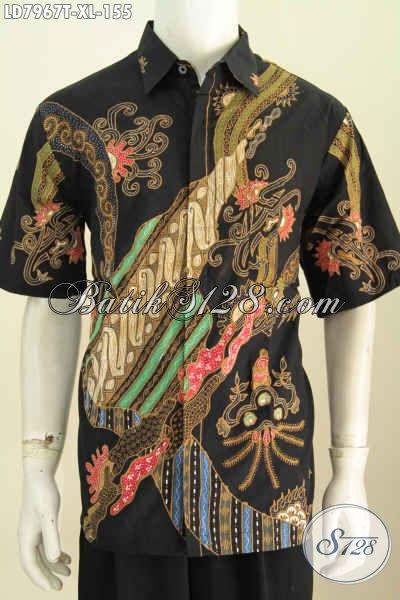 Produk Baju Batik Terkini Untuk Pria, Busana Batik Solo Halus Kwalitas Istimewa Model Lengan Pendek Motif Trendy Proses Tulis Di Jual Online 155 Ribu [LD7967T-XL]