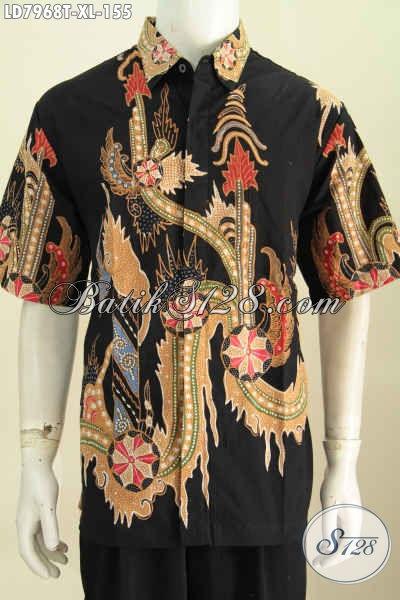 Jual Online Kemeja Batik Solo Halus, Produk Baju Batik Lengan Pendek Elegan Dan Keren Proses Tulis Pas Untuk Ke Kantor [LD7968T-XL]