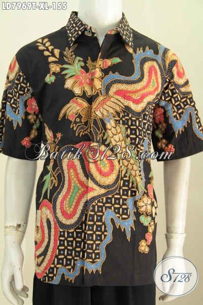 Baju Batik ELegan Keren Bahan Adem Proses Tulis Model Lengan Pendek Ukuran XL, Pakaian Batik Untuk Pria Dewasa Tampil Mempesona [LD7969T-XL]
