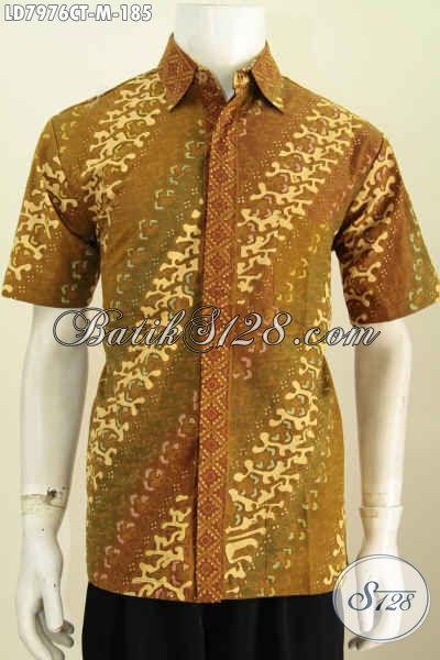 Hem Batik Cap Tulis Istimewa Motif Klasik, Baju Batik Solo Asli Model Lengan Pendek Bahan Adem Cocok Untuk Acara Formal [LD7976CT-M]