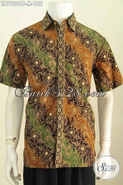 Baju Hem Batik Solo Halus Proses Cap Tulis, Kemeja Batik Kerja Pria Muda Size M Untuk Penampilan Lebih Ganteng [LD7980CT-M]