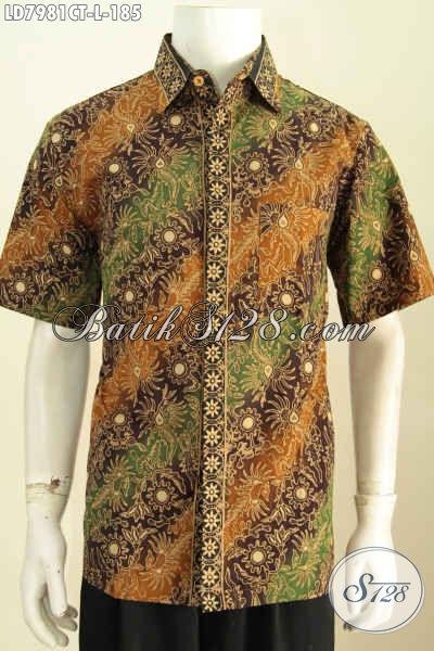 Jual Hem Batik Online Lengan Pendek Modis Untuk Pria Muda Dan Dewasa, Pakaian Batik Halus Khas Jawa Tengah Untuk Kerja Dan Acara Formal [LD7981CT-L]