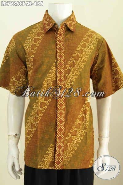 Baju Kemej Batik Elegan Motif Parang, Hem Batik Kerja Kantoran Pria Dewasa Ukuran XL Bahan Adem Proses Cap Tulis Harga 180 Ribuan [LD7985CT-XL]