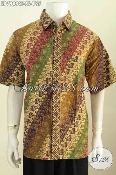 Jual Hem Batik Untuk Kerja, Kemeja Batik Size XL Kwalitas Istimewa Motif Dan Warna Berkelas Proses Cap Tulis Tampil Lebih Sempurna [LD7988CT-XL]