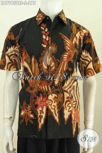 Jul Kemeja Batik Keren Istimewa Buatan Solo, Hem Batik Tulis Soga Premium Lengan Pendek Full Furing Size S, Spesial Untuk Lelaki Muda