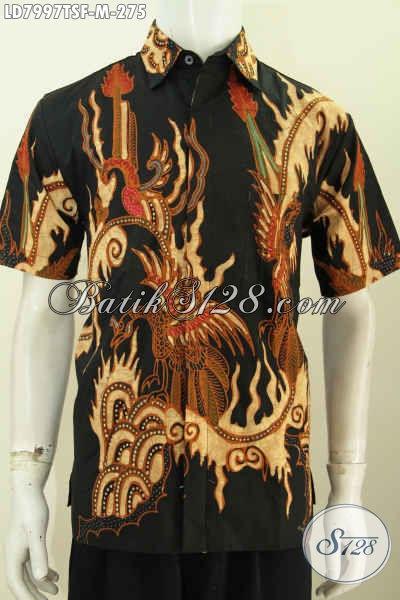 Jual Online Baju Batik ELegan Lengan Pendek, Hem Batik Yang Bikin Pria Terlihat Mempesona, Bahan Halus Daleman Full Furing Motif Tulis Soga [LD7997TSF-M]