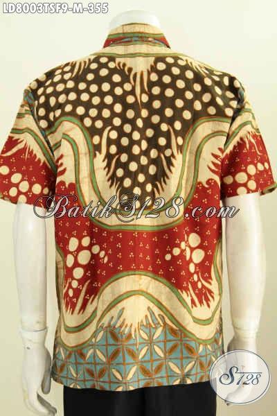 Hem Batik Istimewa Untuk Pria Muda, Baju Batik Berkelas Motif Unik Model Lengan Pendek Proses Tulis Soga Daleman Full Furing [LD8003TSF-M]