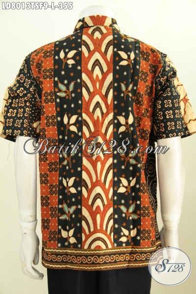 Jual Online Batik Kemeja Lengan Pendek Mewah, Hem Batik Halus Proses Tulis Soga, Baju Batik Kerja Pria Kantoran Model Lengan Pendek Full Furing [LD8013TSF-L]
