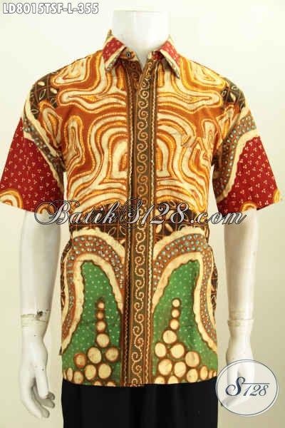 Jual Baju Batik Berkelas Cocok Untuk Kerja Dan Acara Resmi, Pakaian Batik Full Furing Lengan Pendek Buatan Solo Proses Tulis Soga Harga Terjangkau [LD8015TSF-L]