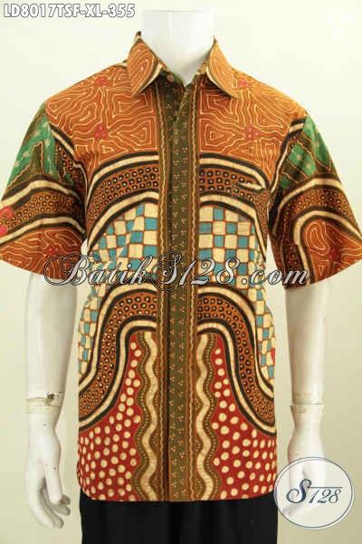 Desain Baju Batik Pria Terkini, Hem Batik Full Furing Mewah Motif Bagus Tulis Soga Lengan Pendek, Pas Untuk Kerja Dan Kondangan, Size XL