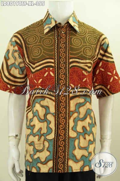 Baju Batik Pria Dewasa, Hem Batik Berkelas Motif Unik Tulis Soga Model Lengan Pendek Pakai Furing Tampil Gagah Dan Tampan [LD8019TSF-XL]