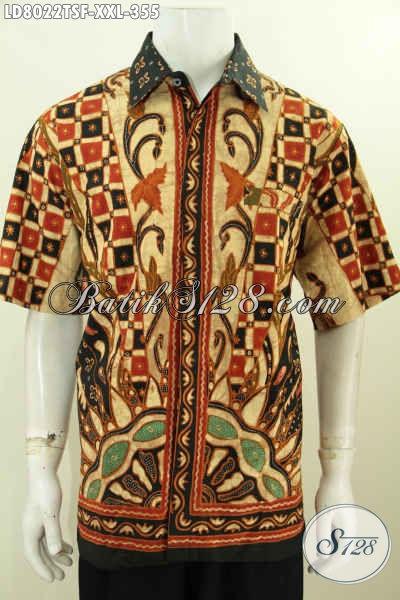 Pusat Pakaian Batik Pria Terlengkap, Sedia Kemeja Batik Full Furing Lengan Pendek Exclusive Buat Pria Gemuk Harga 300 Ribuan, Size XXL