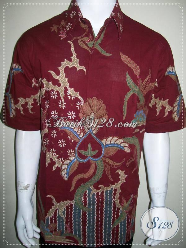 Batik Tulis Pria Warna Merah Ukuran XL, Kemeja Keren