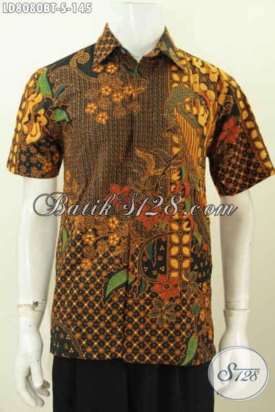 Baju Batik Kerja Pria Kantoran, Produk Busana Batik Modis Berkelas Motif Mewah Kombinasi Tulis Tampil Gagah Hanya Dengan 100 Ribuan [LD8080BT-S]