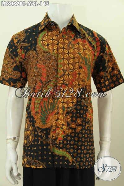 Jual Busana Batik Solo Untuk Pria Muda Dan Dewasa, Kemeja Batik Elegan Halus Lenngan Pendek Motif Mewah Proses Kombinasi Tulis Hanya 140 Ribuan [LD8082BT-M]