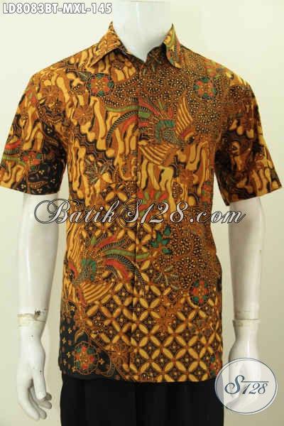 Hem Batik Pria Terkini Untuk Penampilan Lebih Gagah, Baju Batik Lengan Pendek Istimewa Buatan Solo Bahan Adem Proses Kombinasi Tulis Harga 145K [LD8083BT-XL]