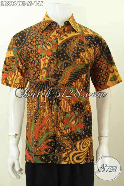 Hem Batik Seragam Kerja Pria Muda, Baju Batik Halus Lengan Pendek Motif Mewah Proses Kombinasi Tulis Menunjang Penampilan Lebih Berwibawa [LD8084BT-M]