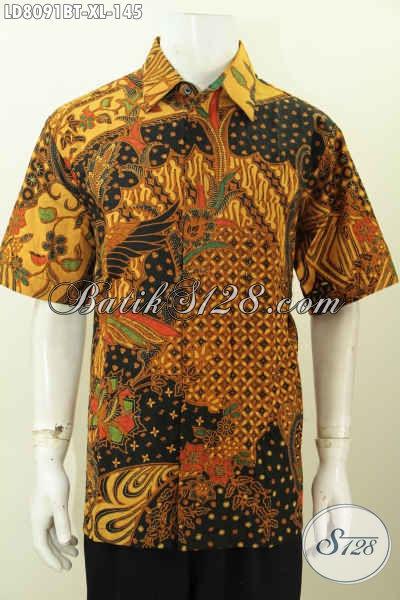 Pusat Busana Batik Solo Online, Sedia Kemeja Batik Elegan Lengan Pendek Halus Proses Kombinasi Tulis Untuk Penampilan Lebih Istimewa [LD8091BT-XL]