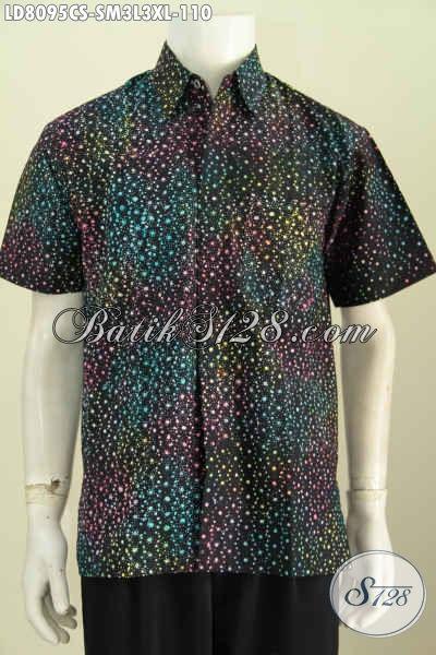 Hem Batik Lengan Pendek Motif Keren Proses Cap Smoke, Pakaian Batik Modern Untuk Pria Muda Dan Dewasa Tampil Bergaya [LD8095CS-S , M , L]