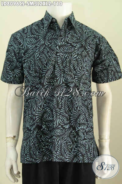 Jual Online Batik Jawa Masa Kini, Hem Batik Modern Motif Trendy Proses Cap Smoke Untuk Tampil Gagah Dan Gaya Model Lengan Pendek [LD8096CS-M , XL]