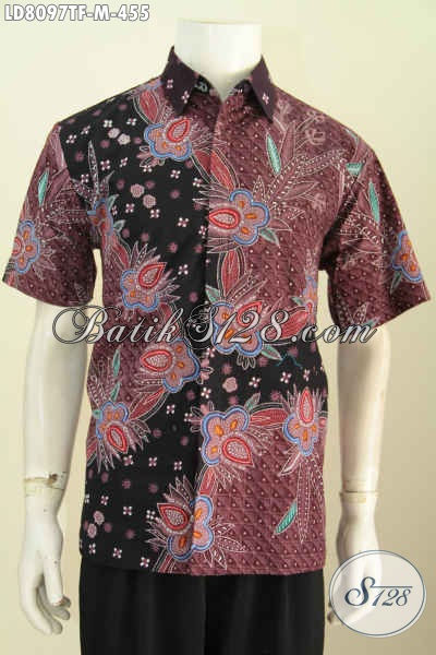 Kemeja Batik Tulis Premium Lengan Pendek, Baju Batik Halus Motif Mewah Full Furing Di Jual Online 455K [LD8097TF-M]
