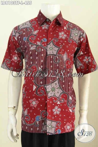 Baju Batik Hem Ukuran L, Kemeja Batik Merah Motif Mewah Proses Tulis Lengan Pendek Full Furing 455K [LD8103TF-L]