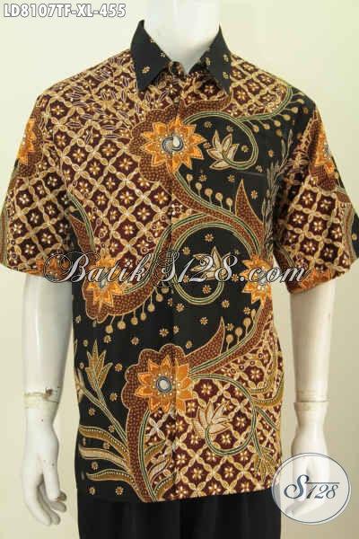 Baju Batik Pria Dewasa Size XL, Hem Batik Istimewa Full Furing Model Lengan Pendekk Dengan Motif Berkelas Proses Tulis, Cocok Untuk Acara Resmi [LD8107TF-XL]