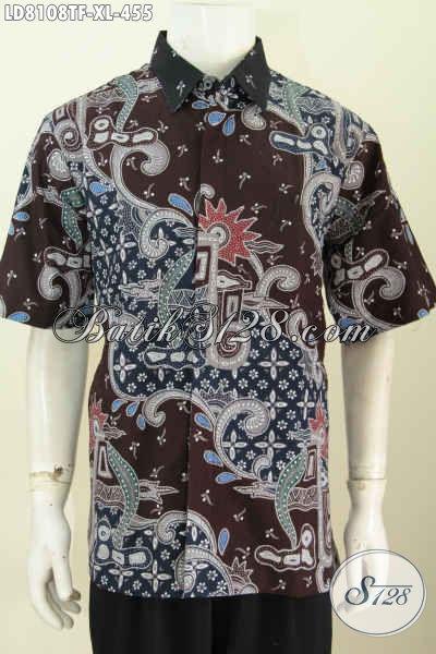 Hem Batik Cowok Kekinian Untuk Lelaki Dewasa, Baju Batik Solo Halus Proses Tulis Lengan Pendek Daleman Pake Furing Lebih Nyaman Dan Berkelas [LD8108TF-XL]