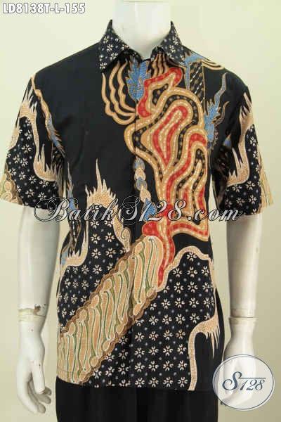 Baju BatikModern Berkelas, Busana Batik Solo Lengan Pendek Keren Bahan Adem Proses Tulis Motif Bagus Tampil Lebih Gagah [LD8138T-L]