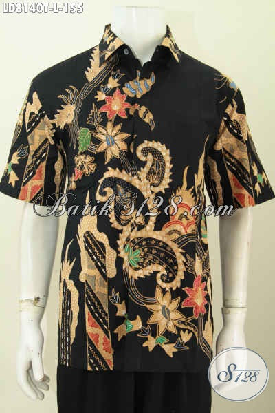 Busana Batik Modern Untuk Tampil Gaul Dan Keren, Hem Batik Lengan Pendek Motif Trendy Proses Tulis 100 Ribuan [LD8140T-L]
