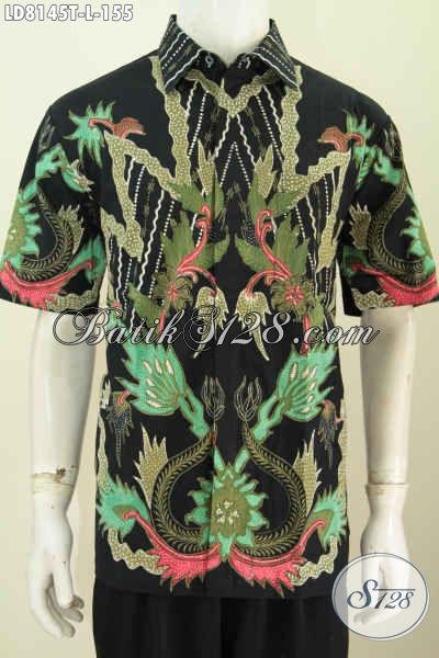 Jual Baju Batik Trendy, Hem Batik Lengan Pendek Keren Bahan Adem Motif Bagus Proses Tulis Cocok Untuk Pria Muda Dan Dewasa [LD8145T-L]
