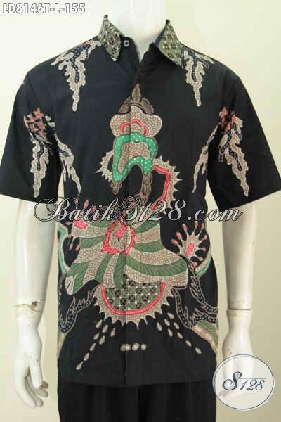 Jual Kemeja Lengan Pendek Bahan Batik Tulis Solo Harga Murmer, Baju Batik Modis Halus Tampil Gagah Dan Tampan [LD8146T-L]