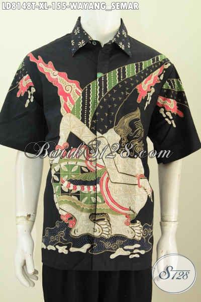 Hem Batik Elegan Wayang Semar, Busana Batik Solo Terkini Bahan Adem Kwalitas Bagus Proses Tulis Hanya 100 Ribuan [LD8148T-XL]