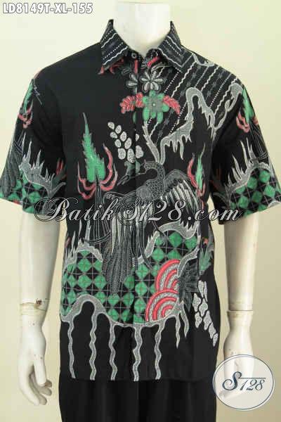 Baju Batik Pria Dewasa Dasar Hitam Elegan Motif Unikk Proses Tulis, Pas Banget Untuk Santai Dan Seragam Kerja [LD8149T-XL]
