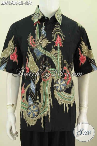 Baju Hem Batik Lengan Pendek Size XL, Kemeja Batik Pria Dewasa Lengan Pendek Motif Bagus Bahan Adem Untuk Tampil Keren Dan Gagah [LD8150T-XL]