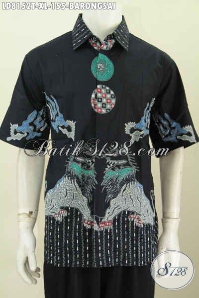 Baju Batik Tulis Motif Barongsai, Kemeja Lengan Pendek Size XL Bahan Adem Modis Dan Nyaman Di Pakai [LD8152T-XL]